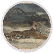 Antoine-louis Barye, French, Paris 1796-1875 Paris, Royal Tiger Round Beach Towel