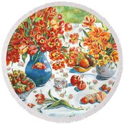 Apples And Oranges Round Beach Towel by Alexandra Maria Ethlyn Cheshire