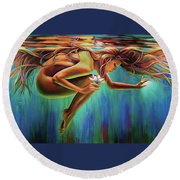 Aquarian Rebirth Round Beach Towel