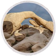 Arch Rock Panorama In Joshua Tree Round Beach Towel by Joe Belanger