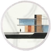 Architectural Drawing Round Beach Towel