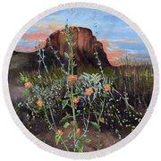Arizona Desert Flowers-dwarf Indian Mallow Round Beach Towel