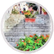 Arzachena Staircase And Church Of The Santa Lucia Round Beach Towel
