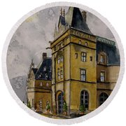 Asheville Castle In The Mountains Round Beach Towel