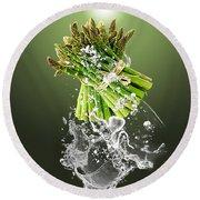 Asparagus Splash Round Beach Towel