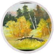 Aspens En Plein Air Round Beach Towel