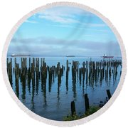 Astoria Ships II Round Beach Towel