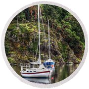 At Anchor Round Beach Towel by Randy Hall