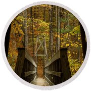 Round Beach Towel featuring the photograph At Bridge by Kevin Blackburn