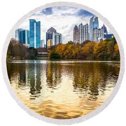 Atlanta - Usa Round Beach Towel by Luciano Mortula