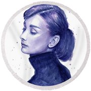 Audrey Hepburn Portrait Round Beach Towel by Olga Shvartsur