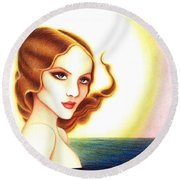 August Honey Round Beach Towel