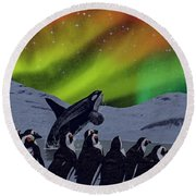 Round Beach Towel featuring the digital art Aurora Borealis by Methune Hively