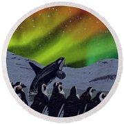 Aurora Borealis Round Beach Towel by Methune Hively