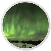 Aurora Borealis Or Northern Lights. Round Beach Towel