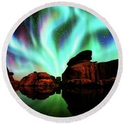 Aurora Over Lagoon Round Beach Towel