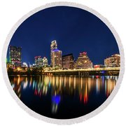 Round Beach Towel featuring the photograph Austin City Limits by Andy Crawford