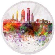Austin Skyline In Watercolor Background Round Beach Towel by Pablo Romero