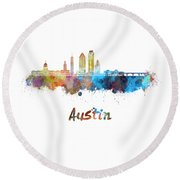 Austin Skyline In Watercolor Round Beach Towel by Pablo Romero