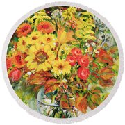 Autumn Arrangement Round Beach Towel
