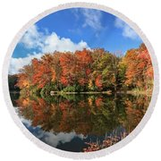 Autumn At Boley Lake Round Beach Towel