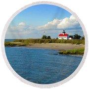 Autumn At East Point Lighthouse Round Beach Towel