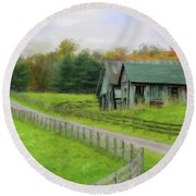 Round Beach Towel featuring the photograph Autumn Barn by Mary Timman