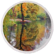 Round Beach Towel featuring the photograph Autumn Colors by Vladimir Kholostykh