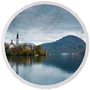 Autumn Colours At Lake Bled Round Beach Towel