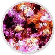 Round Beach Towel featuring the painting Autumn Floral Abstract Art by Annie Zeno