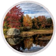 Round Beach Towel featuring the photograph Autumn In Maine by Greg DeBeck
