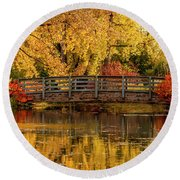 Autumn In The Park Round Beach Towel by Teri Virbickis