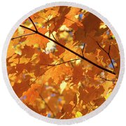 Autumn Leaves Round Beach Towel by David Stasiak