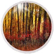 Autumn Light Round Beach Towel