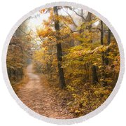 Autumn Morning Round Beach Towel by Ricky Dean