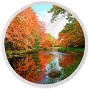 Autumn On The Mersey River, Kejimkujik National Park, Nova Scotia, Canada Round Beach Towel