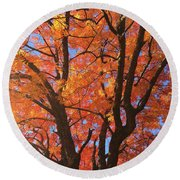 Autumn Orange Round Beach Towel