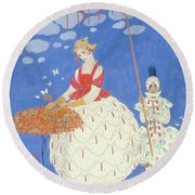 Autumn Roses Round Beach Towel