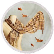 Autumn Scarf Round Beach Towel