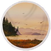 Round Beach Towel featuring the painting Autumn Shore by James Williamson