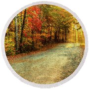 Autumns Path Round Beach Towel