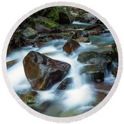Avalanche Creek Rapids Round Beach Towel