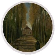 Avenue Of Poplars In Autumn Nuenen, October 1884 Vincent Van Gogh 1853 - 1890 Round Beach Towel