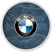 B M W 3 D Badge Over B M W I8 Blueprint  Round Beach Towel