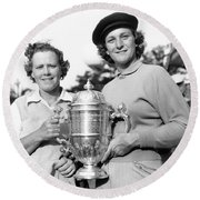 Patty Berg And Babe Didrikson Round Beach Towel