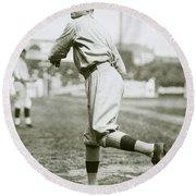 Babe Ruth Pitching Round Beach Towel by Jon Neidert