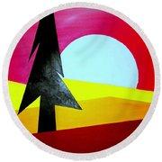 Big Bad Moon Rising Round Beach Towel by J R Seymour