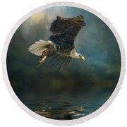 Bald Eagle Swooping Round Beach Towel