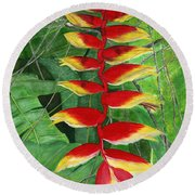 Round Beach Towel featuring the painting Balinese Heliconia Rostrata by Melly Terpening