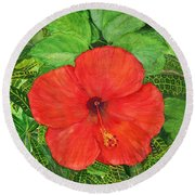 Round Beach Towel featuring the painting Balinese Hibiscus Rosa by Melly Terpening